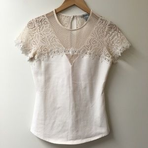 H&M white lace top blouse size small